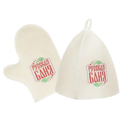 364-208 Набор банный 2 пр. (шапка, варежка) с вышивкой, 30% шерсть, 70% полиэфир, 2 цвета