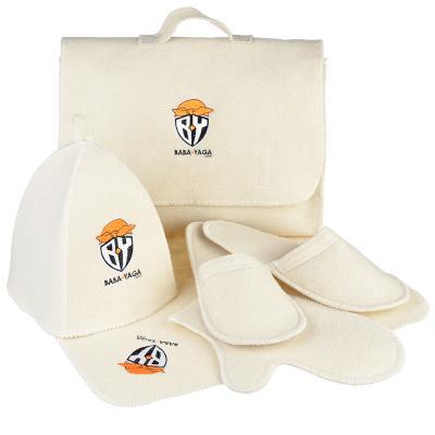 """364-212 Набор банный """"Портфель"""", 5 пр.:портфель,шапка,коврик варежка,тапочки,30% шерсть,70% полиэфир,2 цвета"""