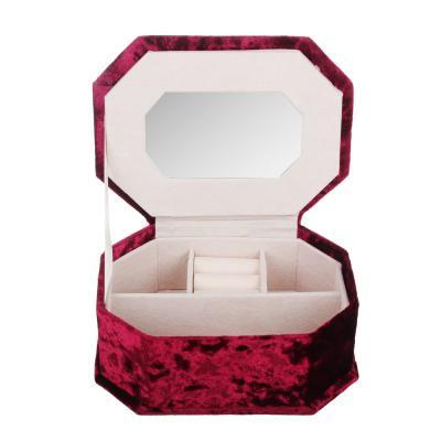 504-630 Шкатулка для украшений с зеркалом, 12х17,5х6,8 см, полиэстер, 4 цвета