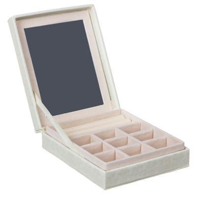 504-636 Шкатулка для украшений с зеркалом и отделениями, 13х15,5х4,3 см, полиэстер