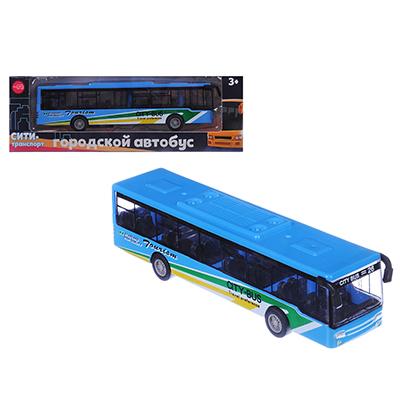 292-199 ИГРОЛЕНД Автобус инерционный, металл, пластик, 15х3,3х3,3см, 4 дизайна