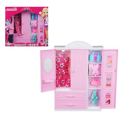 278-104 ИГРОЛЕНД Шкаф для куклы с аксессуарами, 7 пр., пластик, 17х25х5см
