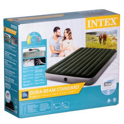 108-055 INTEX Кровать надувная DOWNY BED(fiber-tech), 152x203x25см, ПВХ, 64109