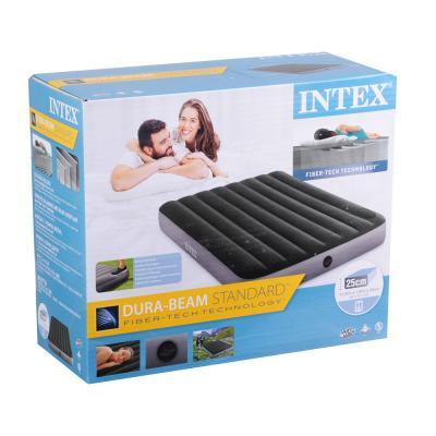 108-061 INTEX Кровать надувная DOWNY BED, (fiber-tech) встроенный ножной насос, 137x191x25см, ПВХ, 64762