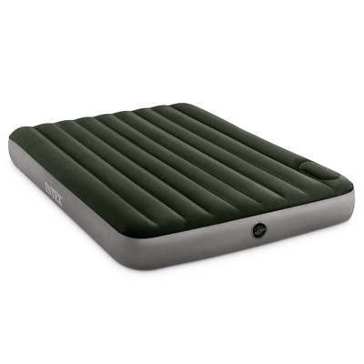 108-062 INTEX Кровать надувная DOWNY BED, (fiber-tech) встроенный ножной насос, 152x203x25см, ПВХ, 64763