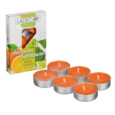 508-621 LADECOR Набор свечей чайных ароматических, 6шт, парафин, 5 ароматов