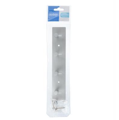 555-011 SonWelle Планка для ванной, 4 крючка, 24см, хром, металл