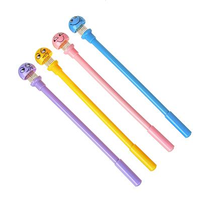 591-039 Ручка шариковая-антистресс синяя, верх в форме смайлика на пружине, 19,5см, пластик, 4 цв.корпуса