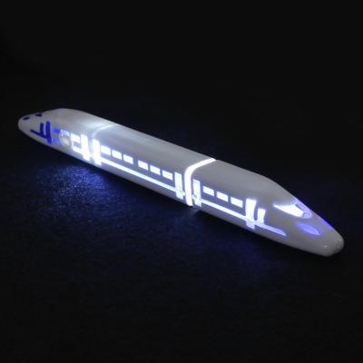 591-041 Ручка шариковая синяя, в форме поезда, внутренняя подсветка, 18х1,6см, пластик, в компл.бат. 3хLR41