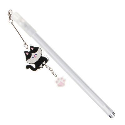 591-046 Ручка гелевая синяя с подвеской - брелоком в форме котика, 17,5см, 0,5мм, пластик, 3 дизайна