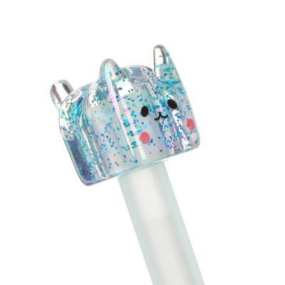 591-047 Ручка гел. с многоцветным стержнем, наконечник в форме котика, 17,5см, 0,5мм, пластик, 4 дизайна