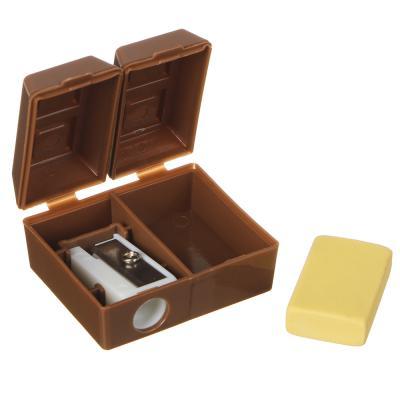 576-015 Точилка для карандашей с ластиком, в 2х-секционном корпусе в форме шоколадки, 3,5x4,3см, пластик