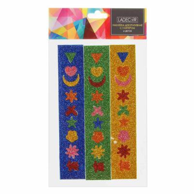 503-544 LADECOR Наклейка декоративная с глиттером, 12х22 см, 6 цветов
