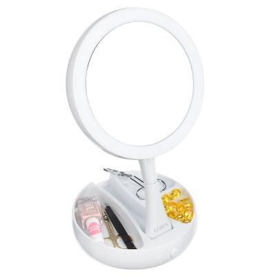 263-012 LEBEN Зеркало косметическое с подсветкой и отделением для хранения, USB/4хАА, пластик, стекло