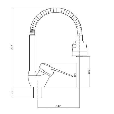 567-079 Смеситель для кухни СоюзКран, однорычажный, гибкий излив, хром, SK1185