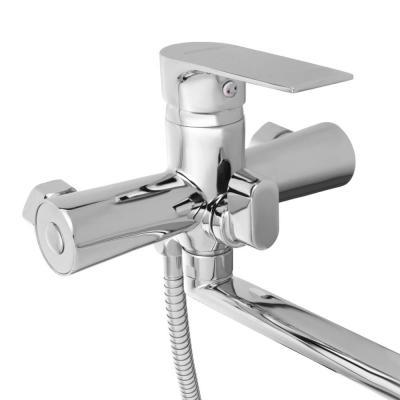 567-084 СоюзКран Смеситель для ванны SK1086, длинный излив 35см, с душ. набором, керам. картридж 35мм, цинк