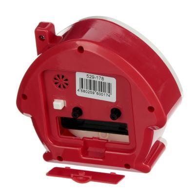 529-178 Будильник, пластик, в форме домика, 4 цвета, 11,7х10,5х4,5 см
