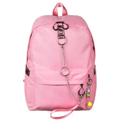 254-311 Рюкзак подростковый, 43,5x29x13см, ПЭ, 1 отделение, 3 кармана, брелок, металлические цепи, розовый