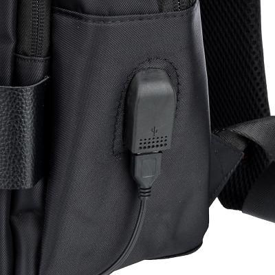 254-342 Рюкзак подростковый, 45x33x16см, 2 отд, 2 карм, ПЭ, иск.кожа, спинка с эргон.элем.,USB, чер.с серым
