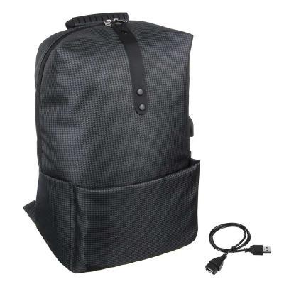 254-346 Рюкзак подростковый, 41x29x17см, 1 отд, 1 карм, сверхлегкий прочный ПЭ, USB, тёмно-серый