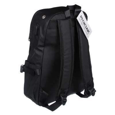 254-352 Рюкзак подростковый, 41x29x11см, 1 отделение, 4 кармана, бок.утяжки, USB, водоотталк.нейлон, черный