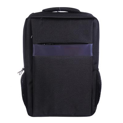 254-355 Рюкзак подростковый, 43x32x12см, 1 отделение, 4 кармана, отделка голографической полосой, черный