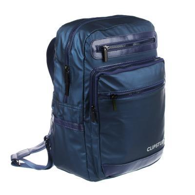254-358 Рюкзак подростковый, 39x27x13см, 1 отд, 5 карм, многослойный водоотталк.нейлон, иск.кожа, синий