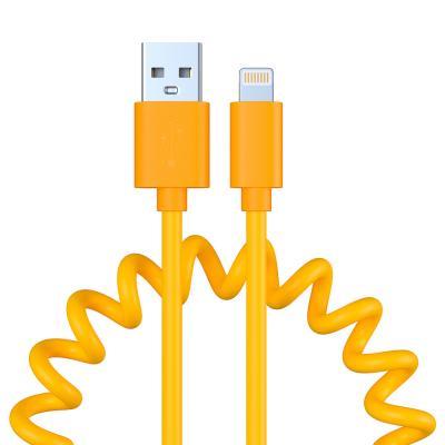 470-072 Кабель для зарядки FORZA Cпираль, iP, 1.5А, пластик, 5 цветов