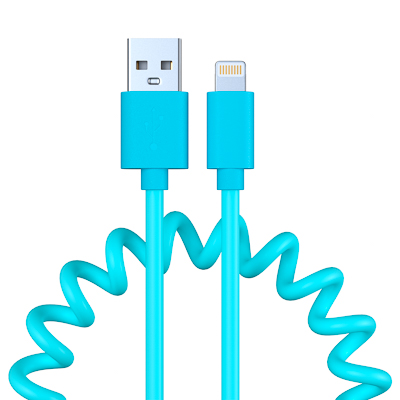 470-072 FORZA Кабель для зарядки, спиральный, оплетка PU, 1.5А, iP, пластик, 5 цветов