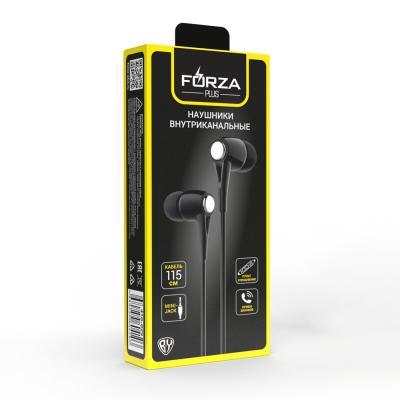 410-029 FORZA Наушники внутриканальные с микрофоном в картонной коробке, 115см, пластик