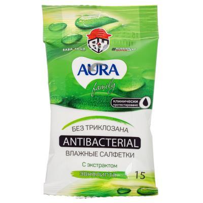 914-028 BY Салфетки влажные AURA Family антибактериальные, 15шт, арт.29029