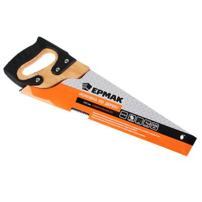 663-128 ЕРМАК Ножовка по дереву 350мм с деревянной обрезиненной ручкой, универсальный зуб, 4 мм