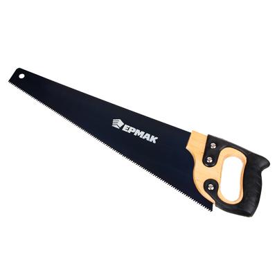 663-129 ЕРМАК Ножовка по дереву 450мм с деревянной обрезиненной ручкой, универсальный зуб, 4 мм