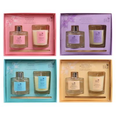 778-105 NEW GALAXY Набор ароматизатор-диффузор и свеча, ваниль,мандарин,мор. утро,маг. ночь 40 мл., 50 гр