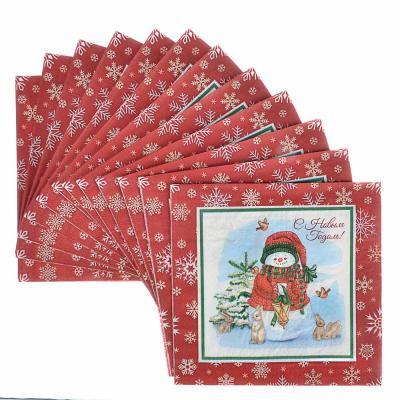 393-236 Салфетки бумажные 12шт, праздничные, 33х33см, арт 4-1
