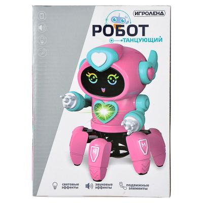 293-060 ИГРОЛЕНД Игрушка интерактивная в виде робота, движение, свет, звук, 3АА, пластик, 18х14х14см
