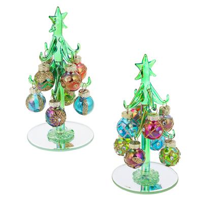 386-151 СНОУ БУМ Елка сувенирная, перламутровое стекло, 13см, 8 подвесок-шаров, 2 дизайна