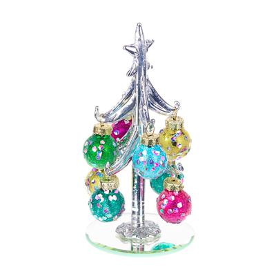 386-152 СНОУ БУМ Елка сувенирная со стразами, глиттер, стекло, 13см, 8 подвесок-шаров