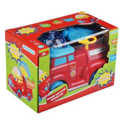 272-689 ИГРОЛЕНД Автомобиль пожарный музыкальный с проектором, свет, звук, движение, 3АА, ABS, 16х9х12см