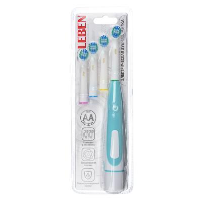 263-014 LEBEN Зубная щётка электрическая, круглая, 4 насадки в комплекте, 2xАА, 6000 об/мин