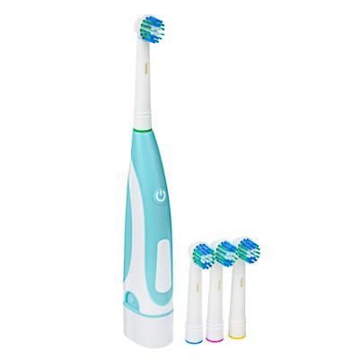 Зубная щётка электрическая, круглая, 4 насадки в комплекте, 2xАА, 6000 об/мин