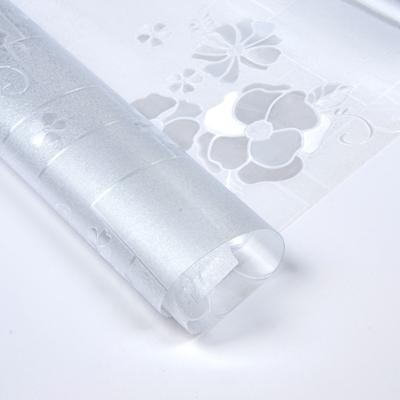"""423-078 Клеенка прозрачная ПВХ """"Гибкое стекло"""" Цветы, 0,8мх25мх0,5мм"""