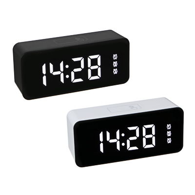 529-180 LADECOR Будильник электронный с календарем, термометром, сенсорный, 3хААА, USB, 15,5х7х4,5см, 2 цв.