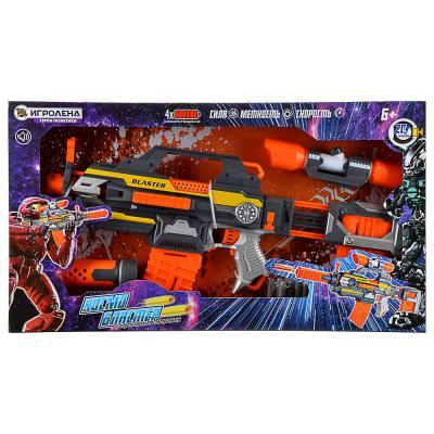 261-688 ИГРОЛЕНД Космо-бластер автоматический, с поролоновыми пулями, звук, 4АА, ABS, 67х37х8см