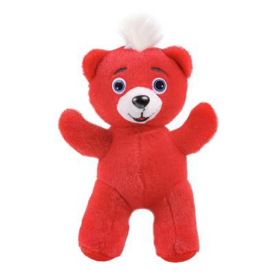 264-249 BY Игрушка мягкая в виде красного медвежонка, звук, 3AG13, полиэстер, 21х19х17см