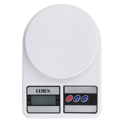 268-056 LEBEN Весы кухонные электронные, пластик, макс.нагрузка до 5кг, (точн. измер. 1 гр.)