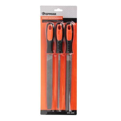 645-209 ЕРМАК Набор напильников 200мм 3шт(круглый, полукруглый, плоский),пластиковая двухкомпонентная ручка