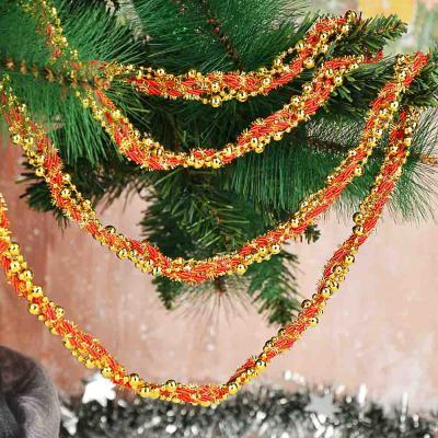 378-230 СНОУ БУМ Бусы декоративные, 200 см, с текстильной лентой, пластик, 6 цветов, арт. 2021-3