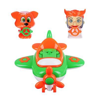 866-021 ИГРОЛЕНД Игрушка музыкальная в виде самолета, 2 персонажа, свет,звук,инерция, ABS, 21,5х16х7,5см
