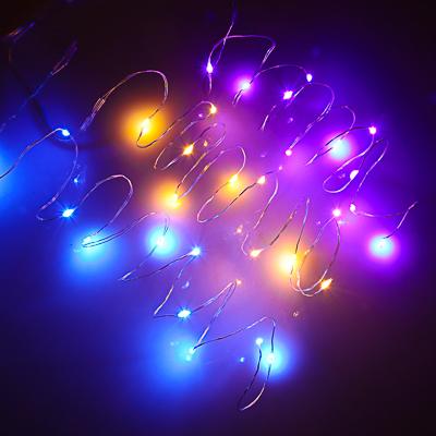"""351-692 СНОУ БУМ Гирлянда эл. 1м, """"Нитка росы"""" 10 LED, шампань, синий, фиолетовый, от батареек 2xCR2032"""